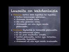 Päälause ja sivulause - YouTube Finland, Literature, Homeschool, Language, Classroom, Teaching, Writing, Youtube, Literatura