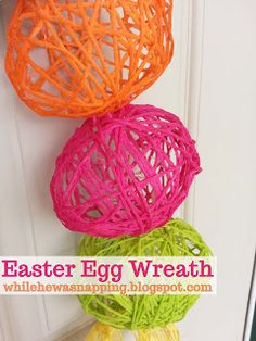 A yarn Easter Egg Wreath is such a fun project with simple materials and requires no special skills, even the kids can help! Spring Crafts, Holiday Crafts, Holiday Fun, Easter Activities, Easter Celebration, Easter Holidays, Easter Treats, Easter Baskets, Happy Easter