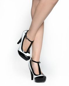 T-Strap Spectator Pump in Black and White