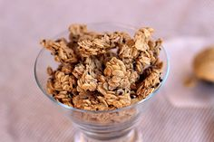 Addictive Peanut Butter Granola (Nut-Free)2 c. rolled oats ¼ c. creamy peanut butter (I used salted) ¼ c. maple syrup 2 T. coconut oil or butter 1¼ t. cinnamon 1 t. vanilla ⅛ t. salt 2 T. flax seeds, chia seeds, or black sesame seeds, optional
