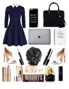 """""""Work"""" by cam1xoxo ❤ liked on Polyvore featuring Alice + Olivia, Gianvito Rossi, Henri Bendel, Selfridges, Casetify, MAC Cosmetics, Charlotte Tilbury, Hershey's, Clinique and Marc Jacobs"""