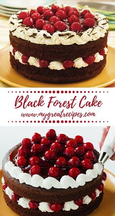 Black Forest Cake This classic layer looks spectacular and tastes fantastic, too! A cake mix and pie filling make it easy. Cupcakes, Cupcake Cakes, Baby Cakes, Mini Cakes, Bolos Naked Cake, Cake Recipes, Dessert Recipes, Chocolate Cake Mixes, Chocolate Cake With Cherries