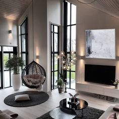 22 Contemporary Living Room Furniture Ideas - 5 Important Points To Decorate It - Additionally, it May even look hard to accomplish a contemporary style at per day to day liveable space having a budget. Scandi Living Room, Simple Living Room, Home Living Room, Living Room Decor, Small Living, Luxury Living Rooms, High Ceiling Living Room Modern, Cozy Living, Home Room Design