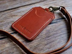 Italian Leather ID Holder with Personalised Lanyard, ID Card Holder, Pass Holder, Badge Holder, Anniversary Gift Leather Art, Custom Leather, Id Holder, Badge Holders, Leather Bag Pattern, Leather Lanyard, Linen Bag, Leather Working, Card Wallet