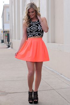 No Comparison Skirt - Neon Coral from UOI Boutique. Shop more products from UOI Boutique on Wanelo. Neon Outfits, Neon Dresses, Black Dress Outfits, Dance Outfits, Pretty Dresses, Casual Dresses, Casual Outfits, Cute Outfits, Spring Dresses