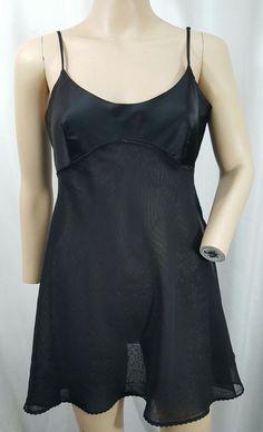 737ff6d3985c Victorias Secret black sheer babydoll nighty asym nightgown lingerie womens  M