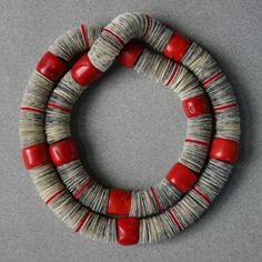"'""red coral necklace"" red coral, paper, paraffin, felt:::::Ingeborg Vandamme:::::Jewellery:::::"