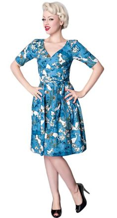 Victory Parade Day Dress in Blue Kabuki | Blame Betty