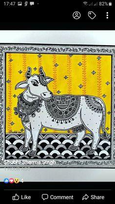 Doodle Art Drawing, Cool Art Drawings, Mandala Drawing, Mandala Art, Wall Drawing, Ganesha Painting, Cow Painting, Ganesha Art, Pichwai Paintings