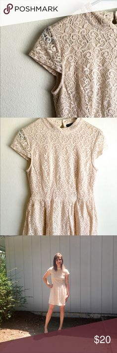 Lace Overlay Dress Beatiful dress from Romeo and Juliet Couture. Cream color with lace overlay. Key hole back. Zips up in the back with two button and loop closures at the top. Size Medium and just a tad too big on me.  Worn once. Smoke free, cat friendly home. 🚫 trades. Romeo & Juliet Couture Dresses Mini