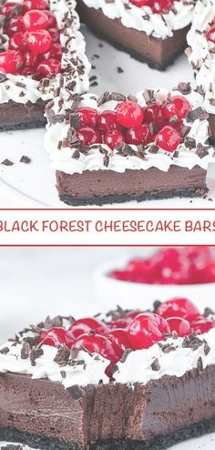 These Black Forest Cheesecake Bars are unbelievably yummy With an oreo cookie crust rich chocolate cheesecake filling topped with sweetened whipped cream cherries and cho. Pecan Pie Filling, Pecan Pie Bars, Soft Chocolate Chip Cookies, Oreo Cookies, Cheesecake Desserts, Chocolate Cheesecake, Easy Desserts, Dessert Recipes, Black Forest Cheesecake