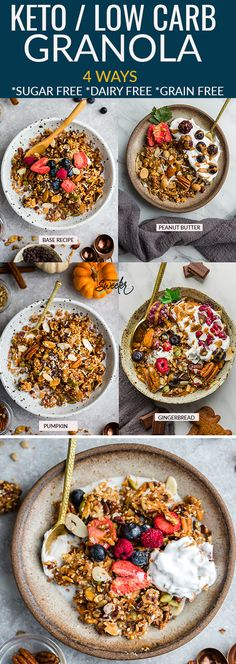 This tasty homemade granola is super simple to make and includes the recipe to make 4 tasty different ways. So easy to make with low carb, paleo and keto friendly ingredients. It's full of crunchy clusters and makes the perfect sugar free breakfast o Sugar Free Breakfast, Breakfast Snacks, Low Carb Breakfast, Breakfast Ideas, Brunch Ideas, Breakfast Frittata, Breakfast Casserole, Low Carb Granola, Granola Bars