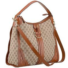 Perfect for work! Gucci Duilio Brogue Canvas Brown Trim Hobo 9064
