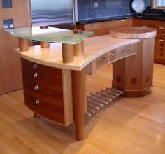Butcher block with glass