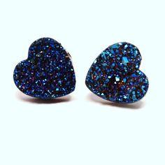 Blue Druzy Heart Stud Earrings Metallic Love Bold by walkonthemoon