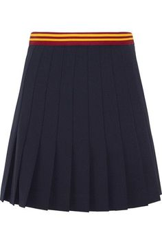 Miu Miu - Pleated Wool-blend Mini Skirt - Navy - IT44