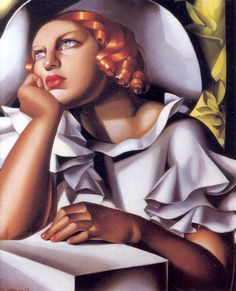 "Title: Wide Brimmed Hat, 1933 Tamara de Lempicka was a Polish Art Deco painter and ""the first woman artist to be a glamour star"". Wikipedia"