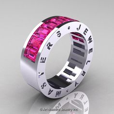 Womens Modern 14K White Gold Pink Sapphire Channel by artmasters, $1529.00