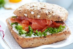 Find Sandwich Salmon Breakfast stock images in HD and millions of other royalty-free stock photos, illustrations and vectors in the Shutterstock collection. Thousands of new, high-quality pictures added every day. Queijo Light, Comida Picnic, Salmon Breakfast, Egg Sandwiches, Salmon Burgers, Food And Drink, Chicken, Cooking, Health