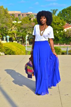 Maxi royal blue skirt, denim jacket, tassel necklace, leopard ...