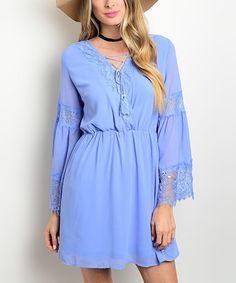 Blue Lace Accent Peasant Dress #zulily #zulilyfinds
