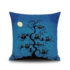 #RoseGal.com - #RoseGal Halloween Night Owl Tree Square Linen Decorative Throw Pillow Case Cushion Cover - AdoreWe.com