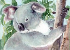 ACEO Original Koala Bear animals cute cuddly wildlife marsupial Australia grey #Impressionism