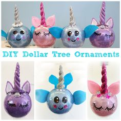 Find 3 EASY Dollar Tree Christmas DIY ideas that you can make fast and on a budget! DIY Santa Wreath, DIY Narwhal and Unicorn Ornaments and a Snowman Candy!