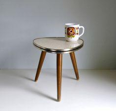 Mid Century Modern Tripod Coffee Table  Cream / by mungoandmidge, €55.00