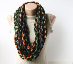 Infinity scarf  multicolor circle scarf  by violasboutique on Etsy, $12.00