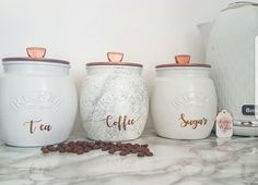 Grey/Silver/White/Copper Tea Coffee Sugar canister tea caddy Kitchen canister kitchen storage marble decor kitchen decor painted Kilner jars Kitchen – home accessories Kitchen Decor Sets, Kitchen Canister Sets, Kitchen Storage, Storage Canisters, Bathroom Canisters, Kitchen Ideas, Copper Kitchen Accessories, Copper Kitchen Decor, Copper Kitchen Accents