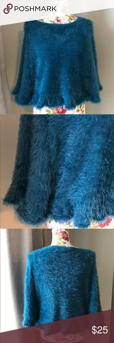 LA Los Angeles fuzzy poncho/top size large Extremely soft poncho/top with arm opening. Beautiful blue color. Size large used, great condition. This item has been pre-washed. Ya Los Angeles Tops