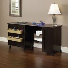 Sewing / Craft Table, 2 adjustable shelves | 2 storage bins attached to door (Cinnamon Cherry) *** Click image for more details.