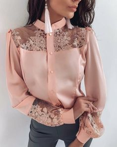 ivrose / Mesh Embroidery Insert Button Up Blouse Mode Outfits, Fashion Outfits, Womens Fashion, Fashion Blouses, Look Fashion, Fashion News, Fall Fashion, Fashion Online, Fashion Trends