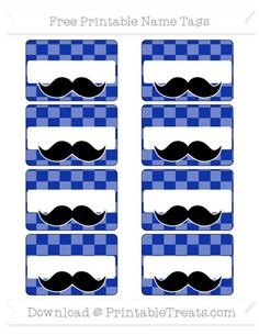 Egyptian Blue Checker Pattern  Mustache Name Tags