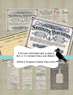 Vintage Pharmacy Apothecary Labels Digital by CuriousCrowDigital, $3.50