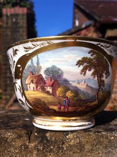 Derby cup with Named Topographical View with two figures Circa 1820