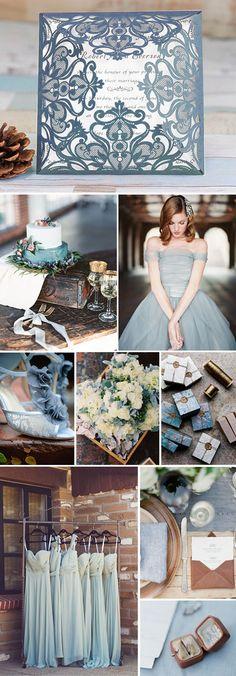 dusty blue & chocolate wedding inspiration and EWI dusty blue vintage laser cut wedding invitations