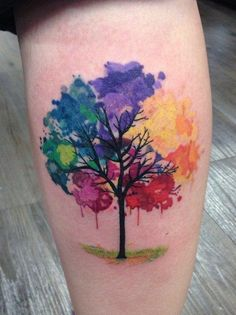 Tree of Life Rainbow Watercolor Tattoo Idea - MyBodiArt.com