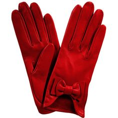 Red Leather Bow Gloves (52.855 CLP) ❤ liked on Polyvore featuring accessories, gloves, red, luvas, leather bow gloves, bow glove, red gloves, red leather gloves and leather gloves