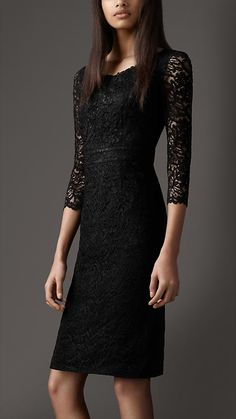 Lace boat neck dress by Burberry. Pretty Dresses, Beautiful Dresses, Gorgeous Dress, Burberry Dress, Lil Black Dress, Boat Neck Dress, Lace Dress With Sleeves, Classy Women, Dress Me Up
