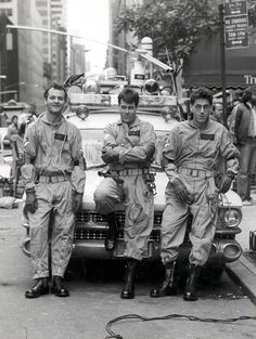 Bill Murray, Dan Aykroyd and Harold Ramis on the set of Ghostbusters