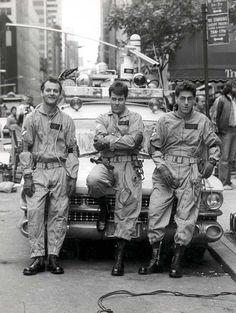 Bill Murray, Dan Aykroyd and Harold Ramis on the set of Ghostbusters