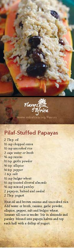 Pilaf-Stuffed Papayas