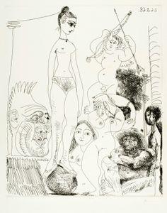 """Lote: 35017497. PICASSO, Pablo (Málaga, 1881 – Mougins, Francia, 1973). """"Autoportrait transposé et dédoublé"""", Suite 347, 1968. Grabado, ejemplar 35/50. Firmado y numerado a mano. Fechado en plancha: 26.3.68. Medidas: 41,8 x 34,5 cm (pisada); 61,5 x 50,4 cm (papel)."""