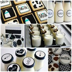 cow birthday party ideas | Everything MILK!!Use an array of patterns like swiss dots and cow ...