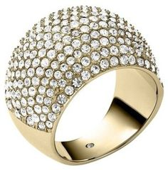Michael Kors Michael Kors Brilliance Statement Gold Tone Pave Dome Ring MKJ3683 Size 7