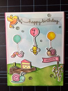 Lawn Fawn - Gleeful Gardens + coordinating dies, Critters in the Forest, Scripty Sayings, Year Three, Stitched Rectangle Stackables, Stitched Hillside Borders _ super cute birthday party scene card by Suzanne via Flickr - Photo Sharing!