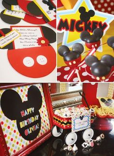 Disney Carnival Birthday Party with Mickey & Friends // Hostess with the Mostess® - Fasching Krippe Cupcake Mickey, Mickey Mouse Bday, Mickey Mouse Clubhouse Party, Mickey Mouse Parties, Mickey Party, Mickey Mouse Birthday, Disney Mickey, Disney Parties, Mickey Cakes