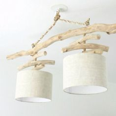 Lustre en bois flotté - slow deco - lin 25 cm - double suspension - led - plafonnier